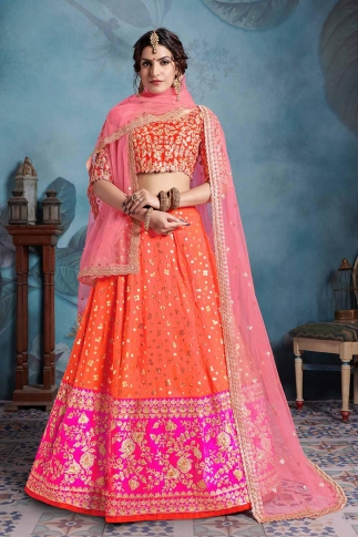 Orange & Light Pink Color Heavy Designer Lehenga Choli On Art Silk
