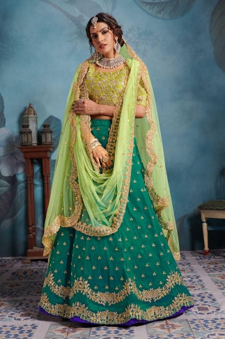 Light Green & Teal Green Color Heavy Designer Lehenga Choli On Art Silk