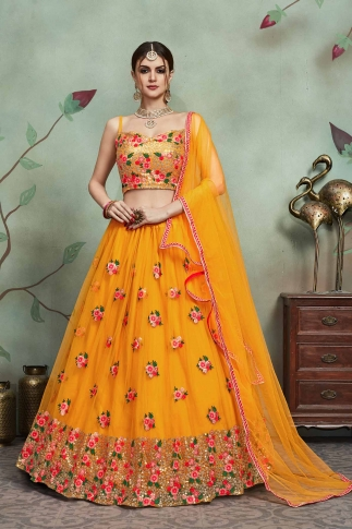 Designer Lehenga Choli In All Over Musturd Yellow Color On Soft Net