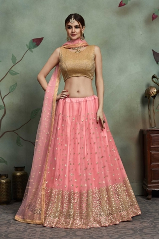 Designer Lehenga Choli In All Over Pink Color On Soft Net