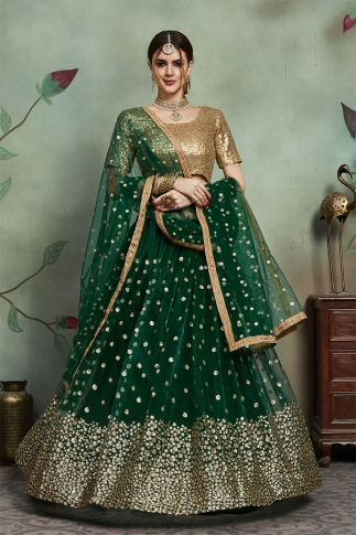 Designer Lehenga Choli In All Over Dark Green Color On Soft Net