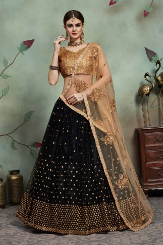 Designer Lehenga Choli In All Over Black Color On Soft Net