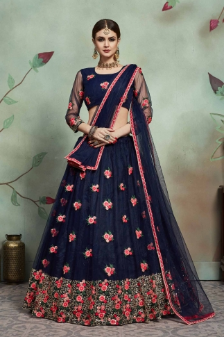 Designer Lehenga Choli In All Over Navy Blue Color On Soft Net