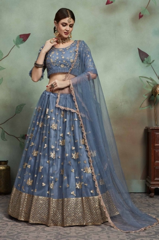 Designer Lehenga Choli In All Over Steel Blue Color On Soft Net