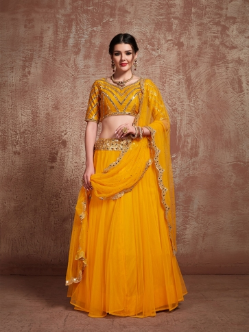Designer Lehenga Choli In All Over Musturd Yellow Color On Art Silk