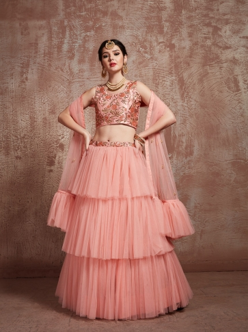 Designer Lehenga Choli In All Over Peach Color On Satin 0