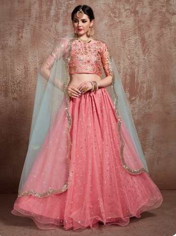 Designer Lehenga Choli In All Over Pink & Grey Color On Art Silk