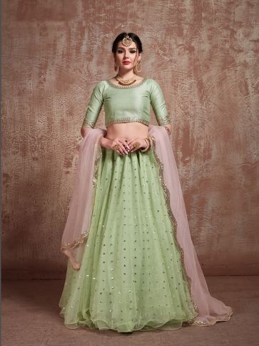 Designer Lehenga Choli In All Over Pastel Green & Pink Color On Art Silk