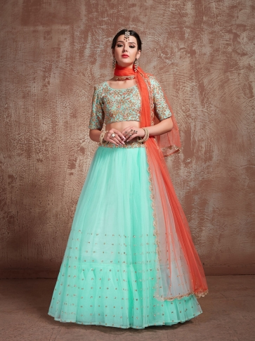 Designer Lehenga Choli In All Over Aqua Blue & Orange Color On Art Silk 0