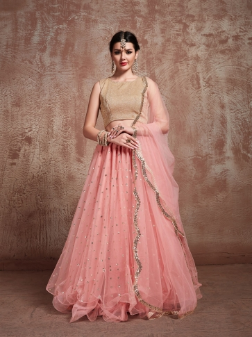 Designer Lehenga Choli In All Over Beige & Baby Pink Color On Lycra