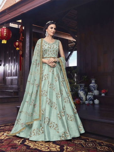 Designer Floor Length Suit In Aqua Blue Color