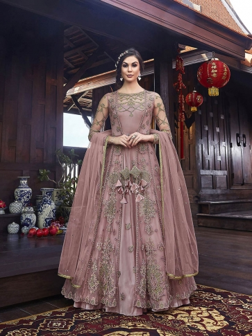 Designer Indo Western Dress In All Over Onion Pink Color 0