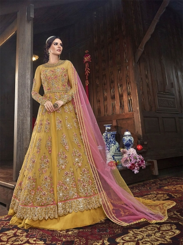 Designer Indo Western Suit With Two Bottom,In Musturd Yellow Color Paired With Contrasting Pink Colored Dupatta