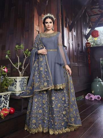 Designer Heavy Sharara Suit In Dark Grey Color
