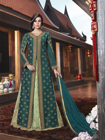 Ind-Western Dress In Shades Of Green Has Embroidered Gown Fabricated On Net Paired With Art Silk