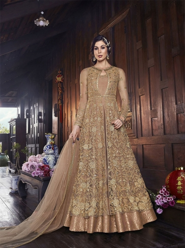 Designer Indo-Western Suit In Beige Color
