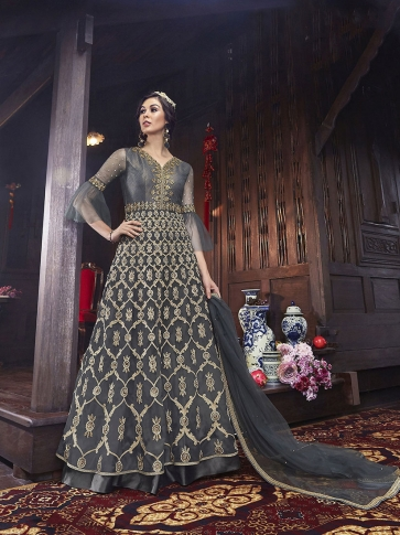 Designer Indo-Western Suit In All Over Grey Color 0