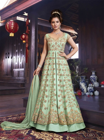 Designer Indo-Western Suit In Light Green Color Which Comes With A Lehenga And Embroidered Pants
