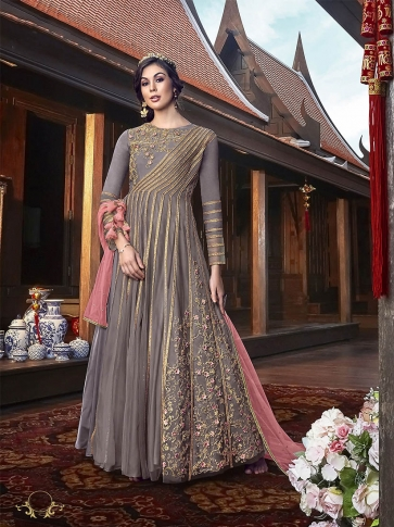 Indo-Western Dress Is Here In Grey Color Paired With Contrasting Pink Colored