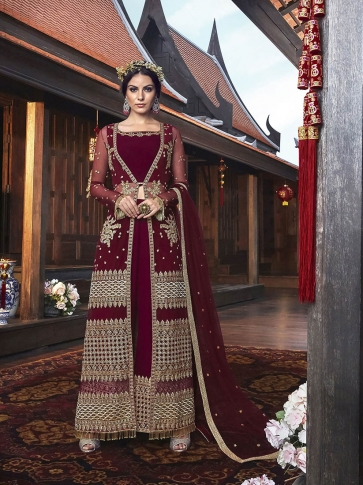 Maroon Colored Indo-Western Dress 0