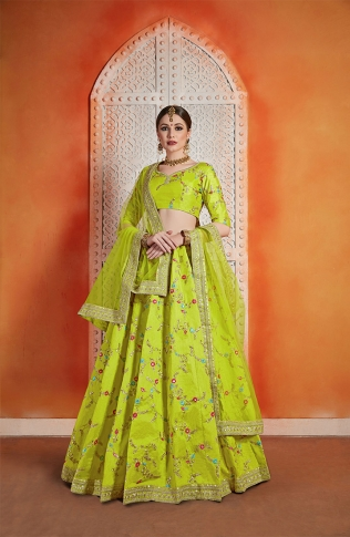 Designer Lehenga Choli In Neon Green Color