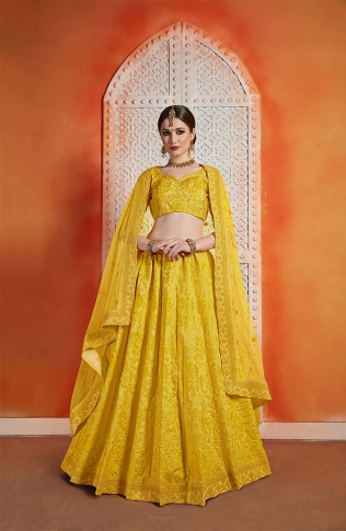 Designer Lehenga Choli In All Over Musturd Yellow Color
