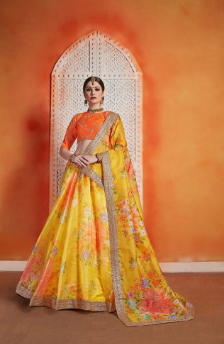 Designer Lehenga Choli In Orange Colored Blouse Paired