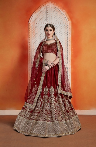 Heavy Designer Lehenga Choli In All Over Maroon Color 0