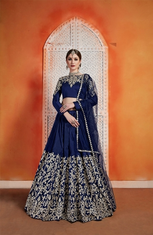 Designer Lehenga Choli In All Over Navy Blue Color 0