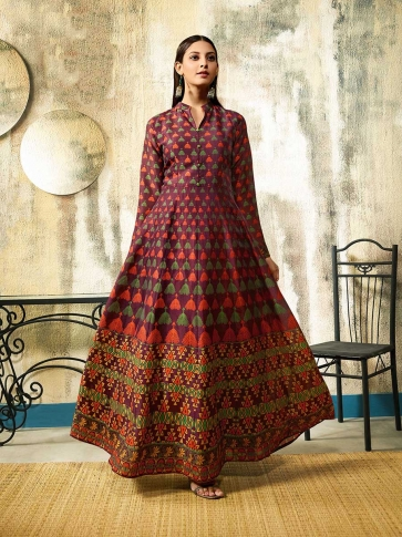 Printed Readymade Gown To Your Wardrobe In Purple Color Fabricated On Chanderi