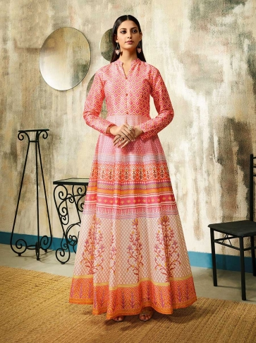 Designer Readymade Gown In Pink Color Fabricated On Chanderi