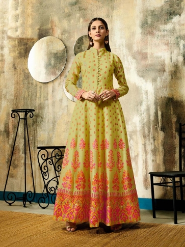 Designer Readymade Gown In Pear Green Color Fabricated On Chanderi