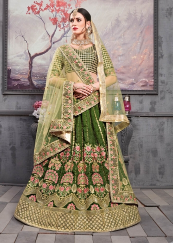Designer Lehenga Choli In Dark Green Color Paired With Pastel Green Colored Dupatta 0