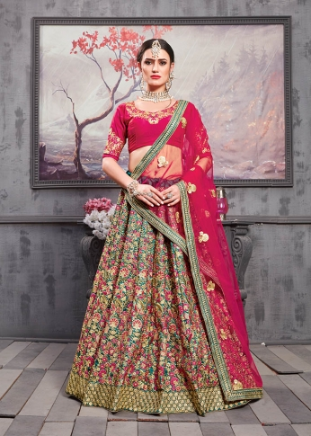 Designer Lehenga Choli In Magenta Pink Colored Blouse And Dupatta Paired With Contrasting Teal Green Colored Lehenga