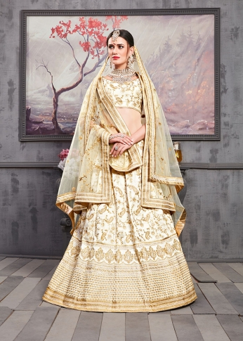 Designer Lehenga Choli In All Over Cream Color