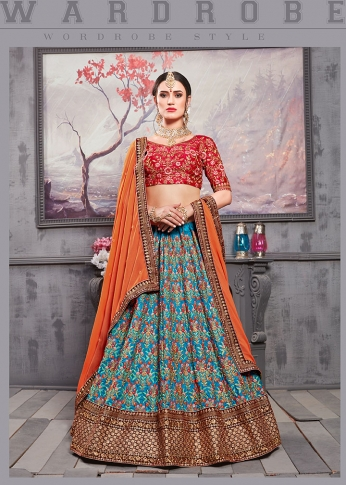 Designer Lehenga Choli In Red Colored Blouse Paired With Blue Colored Lehenga And Orange Colored Dupatta