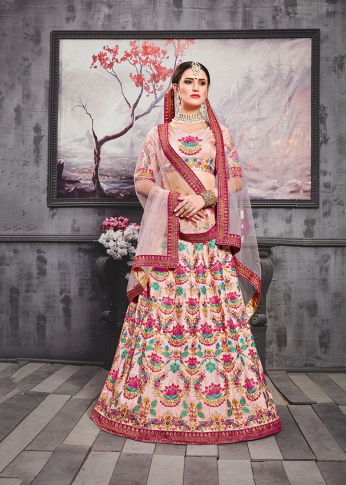 Designer Lehenga Choli In All Over Pastel Pink Color 0