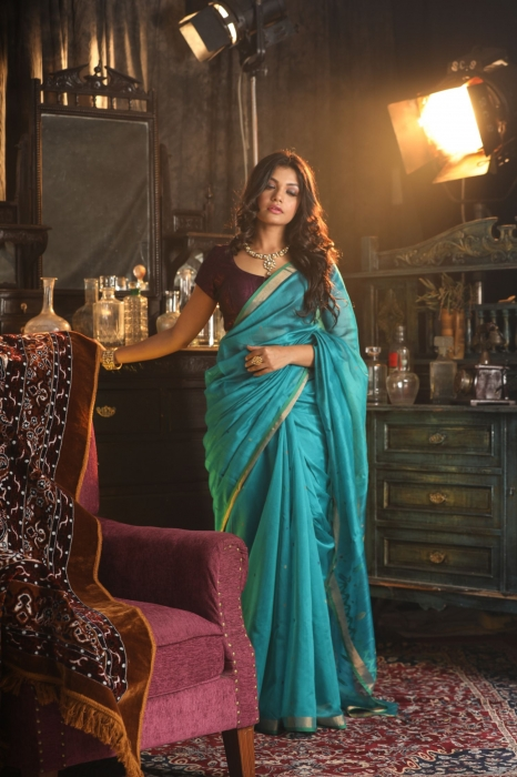 Pure Silk Blended With Handspun Cotton Soft Finished Saree 1