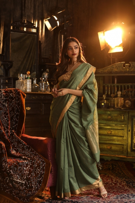 Pure Tussar Silk Blended With Handspun Cotton Soft Finished Green Colour Saree