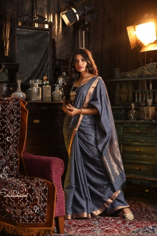 Pure Tussar Silk Blended With Handspun Cotton Soft Finished Grey Colour Saree