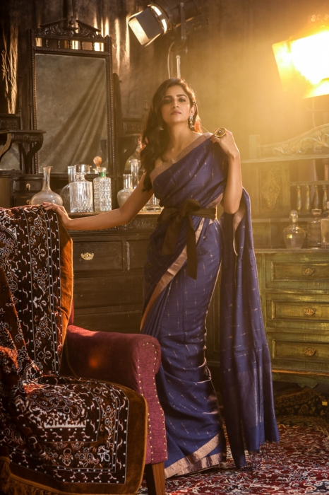 Pure Tussar Silk Blended With Handspun Cotton Soft Finished Navy Blue Saree