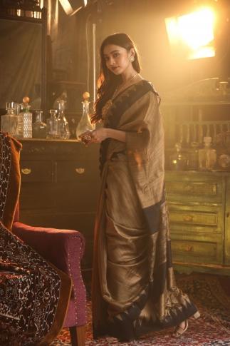 Beige Bengal Handwoven Pure Matka Silk Saree 1