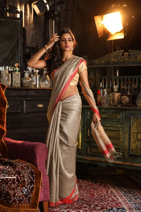 Bengal Handwoven Pure Matka Silk Beige With Red Border Saree