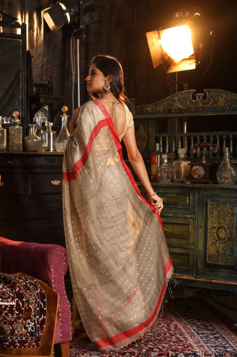 Bengal Handwoven Pure Matka Silk Beige With Red Border Saree 2