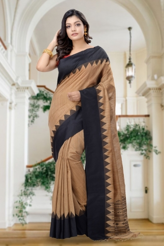 Brown With Black Border Handwoven Pure Matka Silk Saree