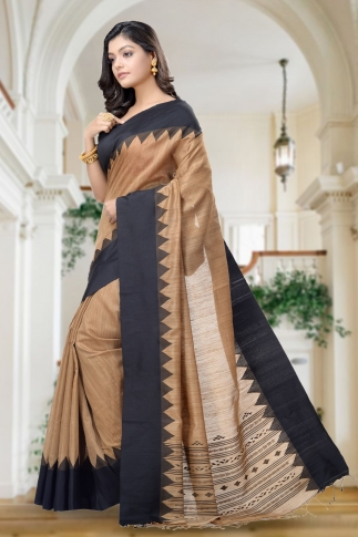 Brown With Black Border Handwoven Pure Matka Silk Saree 1