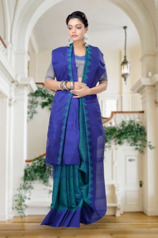 Green With Blue Combination Handwoven Pure Matka Silk Saree