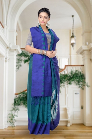 Green With Blue Combination Handwoven Pure Matka Silk Saree 1