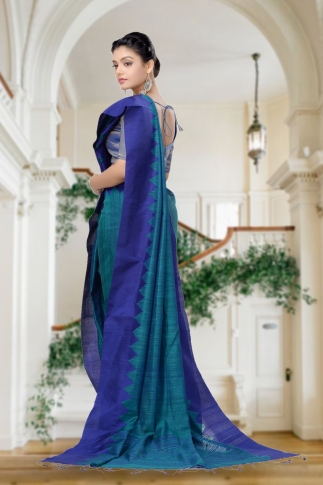 Green With Blue Combination Handwoven Pure Matka Silk Saree 2