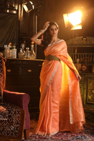 Orange Colour Fine Quality Pure Silk Linen Saree